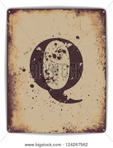 Retro tin plate style poster with capital letter Q monogram. EPS10 vector format