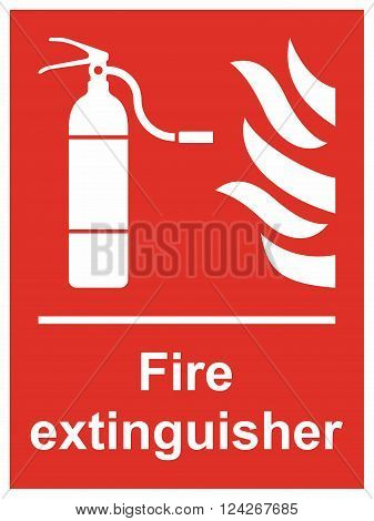 Fire extinguisher sign, location of fire extinguisher