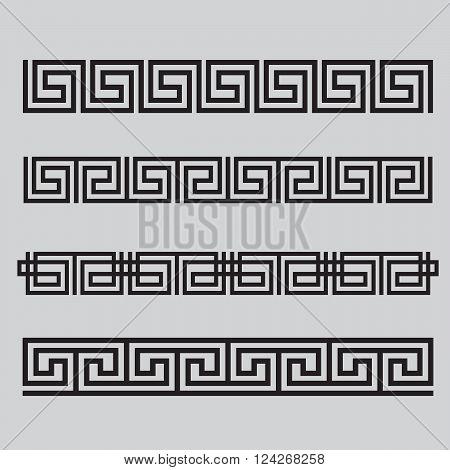 Greek patterns set. 10 eps vector illustration
