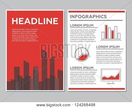 Creative Brochure Template Design with infographic chart. Abstract Vector Flyer Pamphlet Leaflet layout for marketing advertising and Flat style web site banners