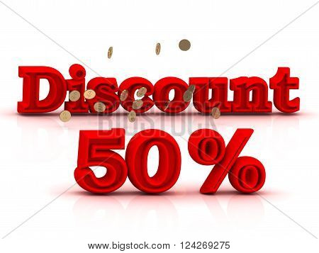 50 PERSENT DISCOUNT HOT PRICE Bright red keywords isolated on white background