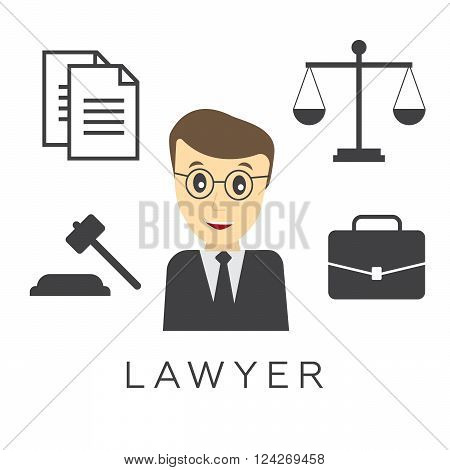 Vector lawyer attorney or jurist concept background