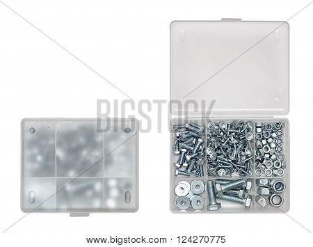 Top view of closed and opened screw boxes isolated on white background. Stuff for construction.