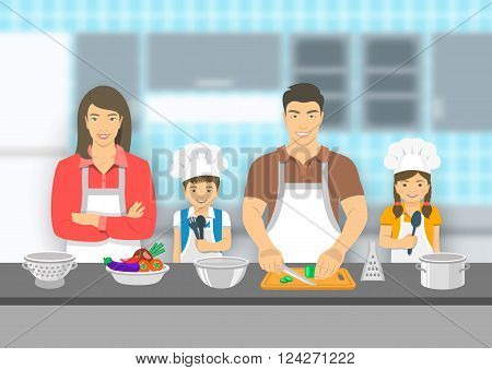 Mother father and kids cooking together at a kitchen. Dad cuts vegetables for salad happy little son and daughter help him. Asian family domestic pastime background. Vector flat illustration