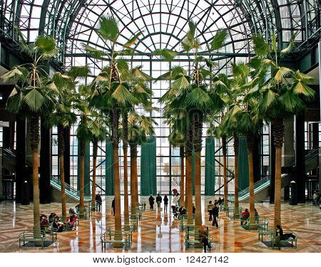 Interior of Winter Garden building in New York City