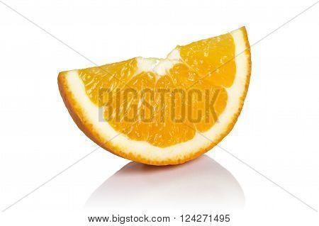 Studio shot of slice of orange fruit isolated on white background. All in focus