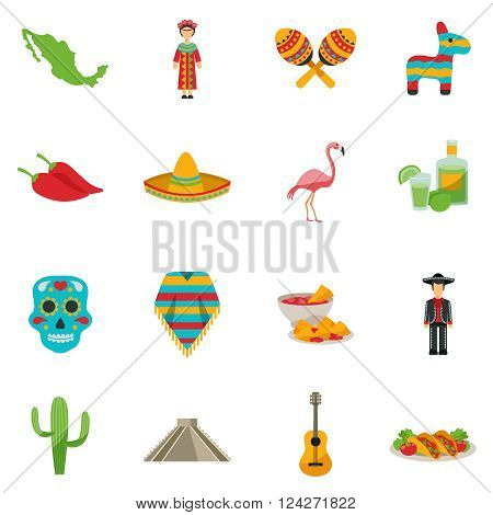 Set of flat icons with traditional food costumes animals and sightseeings of Mexico vector illustration