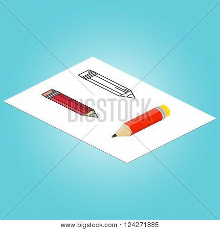Set Of Isometric Pencil, Flat Pencil And Thin Line Pencil . For Web Design And Application Interface