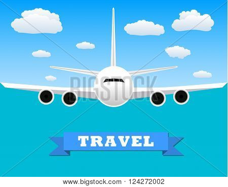 picture of a civilian plane with clouds and travel sign. vector illustration in flat design.