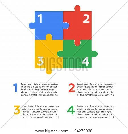 Six vector jigsaw puzzle pieces. 10 eps vector illustration