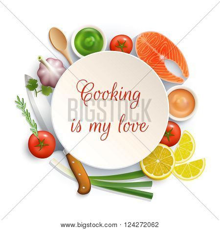Love for cooking flat lay ingredients composition photo build around the plate with cock knife vector illustration