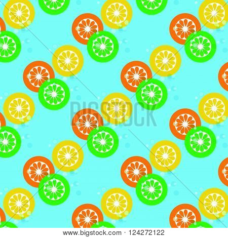 Lemon and lime and orange with bubble soda on cyan background