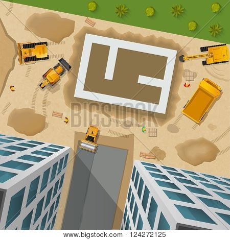 Building poster with various construction vehicles at the initial stage top view vector illustration