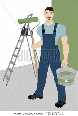 painter with a roller a stepladder and tools for painting in the room vector illustration