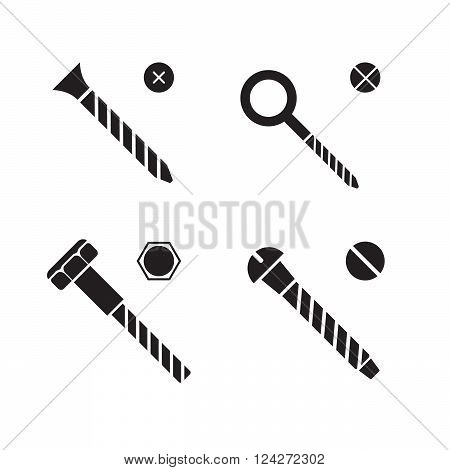 Screws nuts and rivets icons. 10 eps vector illustration