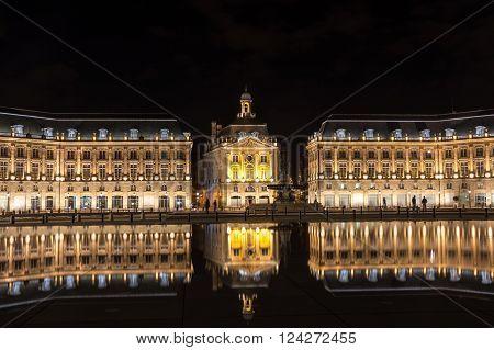 Place de la Bourse in Bordeaux in the night, Aquitaine, France