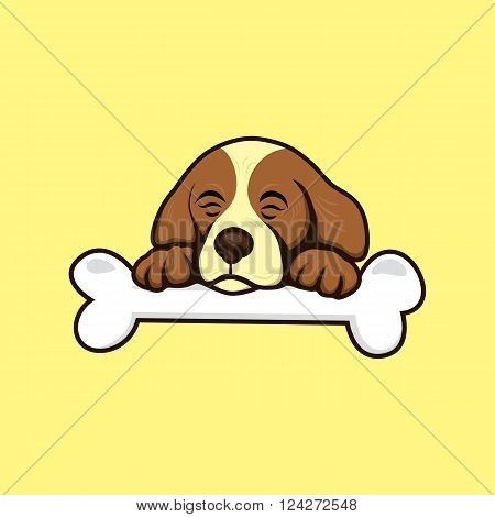 cute little puppy with bone theme vector art illustration