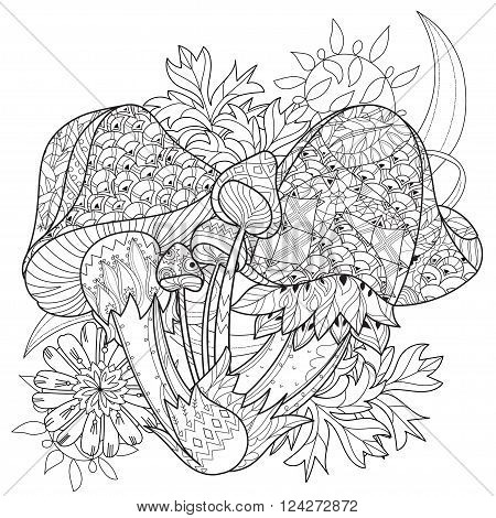 Hand drawn doodle outline magic mushrooms  decorated with floral ornaments.Vector zentangle illustration.Floral ornament.Sketch for tattoo, poster, children or adult coloring pages.Boho style.