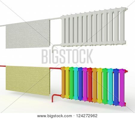 radiator with a cloth radiator paint rainbow background color 3d