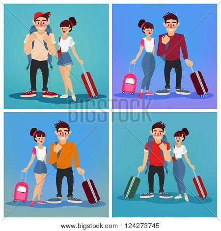 Travel Banner. Tourism Industry. Active People. Girl with Baggage. Man with Baggage. Tourists with Luggage. Happy Couple. Vector illustration. Flat Style