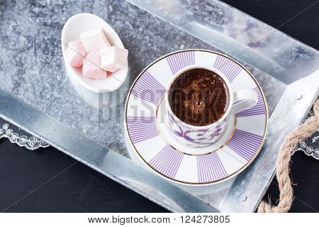 Turkish coffee and Turkish delight on a tray