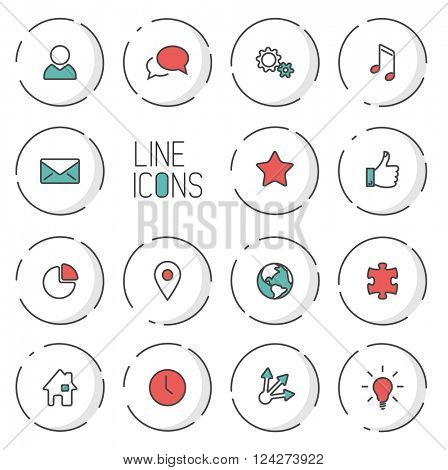Vector Modern circle thin line icon collection - dual color (red and teal), light shadow