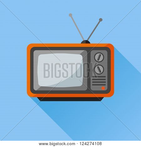 Retro tv set flat icon with long shadow on blue background