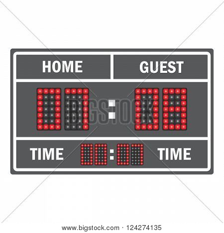 Sport vector illustration scoreboard. Score game display digital time information result
