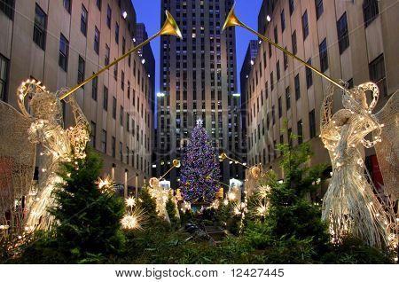 View of New York's Rockefeller Christmas tree