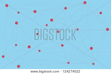 Red dots connected with triangle shape connection worldwide connections. Abstract background. Abstract wallpaper. Various shapes and sizes connected together. Blue abstract background with red dots.