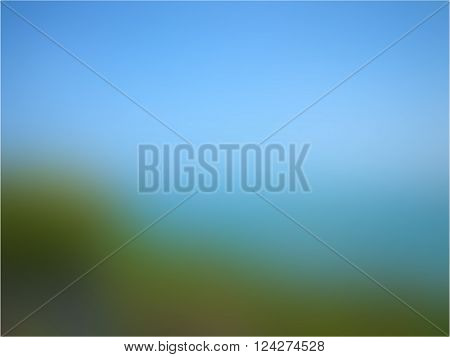 Summer background with landscape of green grass and the sea skyline or horizon blurred texture in vector