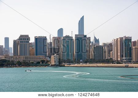 Sea Front View With Luxurious Buildings In Abu Dhabi