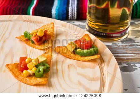 Close up of nachos chips with vegetables and beer with a poncho on background ** Note: Shallow depth of field