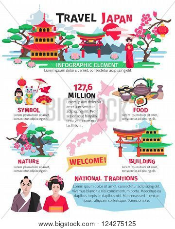 Japanese sightseeing landmarks food and cultural attractions for tourists flat poster with infographic elements abstract vector illustration