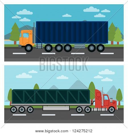 Cargo Transportation. Truck and Trailer. Delivery Trucks. Logistics Transportation. Mode of Transportation. Cargo Truck. Vector illustration. Flat style