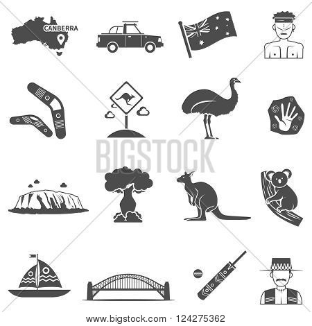 Australia black white icons set with kangaroo and koala flat isolated vector illustration