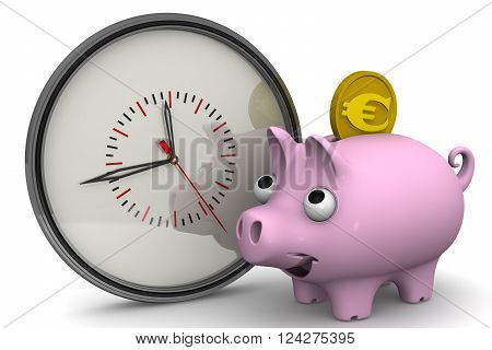 Time is money. Analog clock and piggy bank with a coin of the European currency on a white surface. Financial concept. 3D Illustration. Isolated