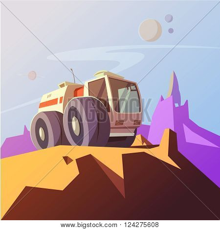 Research vehicle cartoon background with planet exploration symbols vector illustration