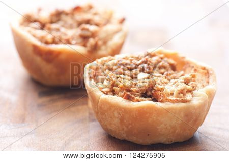 home made apple tart with oatmeal crumble topping ** Note: Shallow depth of field