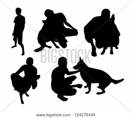 A set of silhouettes Man with dog. Vector illustration