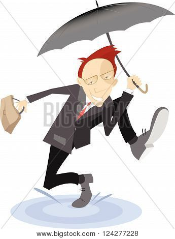 Happy man . Smiling man with the umbrella and bag excited about something runs through a puddle