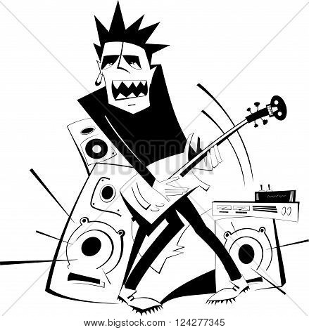 Let be where rock . Angry guitarist plays loud music using amplifier and several speakers