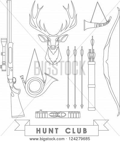 Deer hunter vintage set with deer head and weapons on white background.