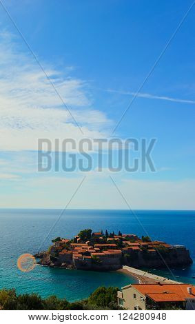 Sveti Stefan, small islet in Montenegro. Balkans, Adriatic sea, Europe. high angle