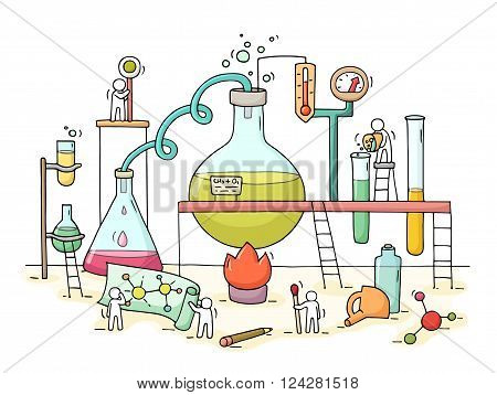 Sketch of chemical experiment with working little people beaker. Doodle cute miniature of teamwork and materials research. Hand drawn cartoon vector illustration for biology and chemistry.