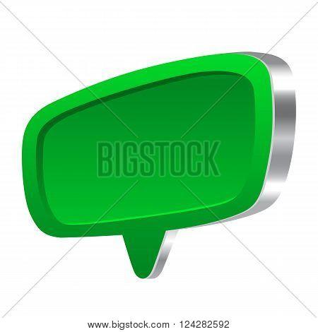Green 3d speech abstract bubble glossy set