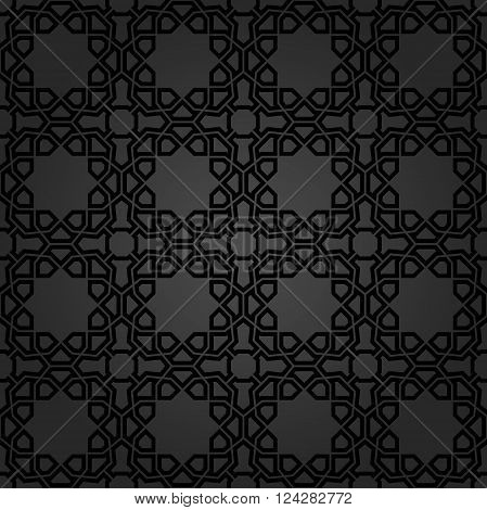 Seamless vector dark ornament. Modern geometric pattern with repeating elements