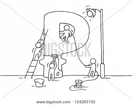 Sketch of ruble sign with working little people. Doodle cute miniature of construction ruble and preparing for the big profit. Hand drawn cartoon vector illustration for business design.