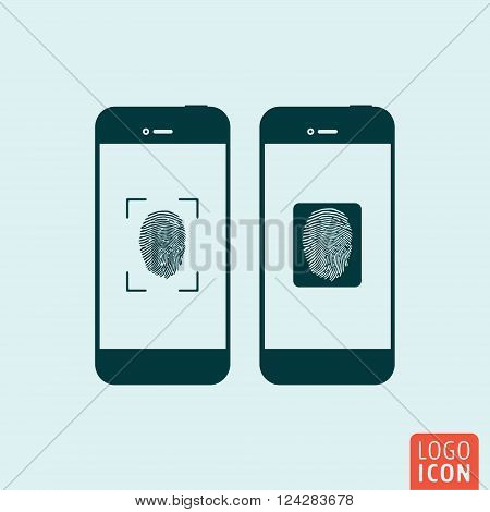 Smartphones icon. Smartphones symbol. Smartphones with fingerprint scanner icon isolated, minimal design. Vector illustration