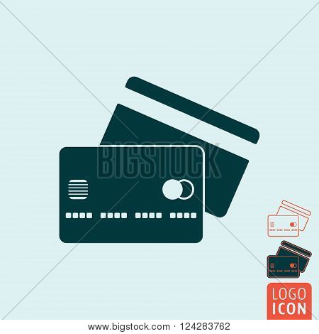 Credit card icon. Credit card symbol. Credit cards icon isolated, minimal design. Vector illustration
